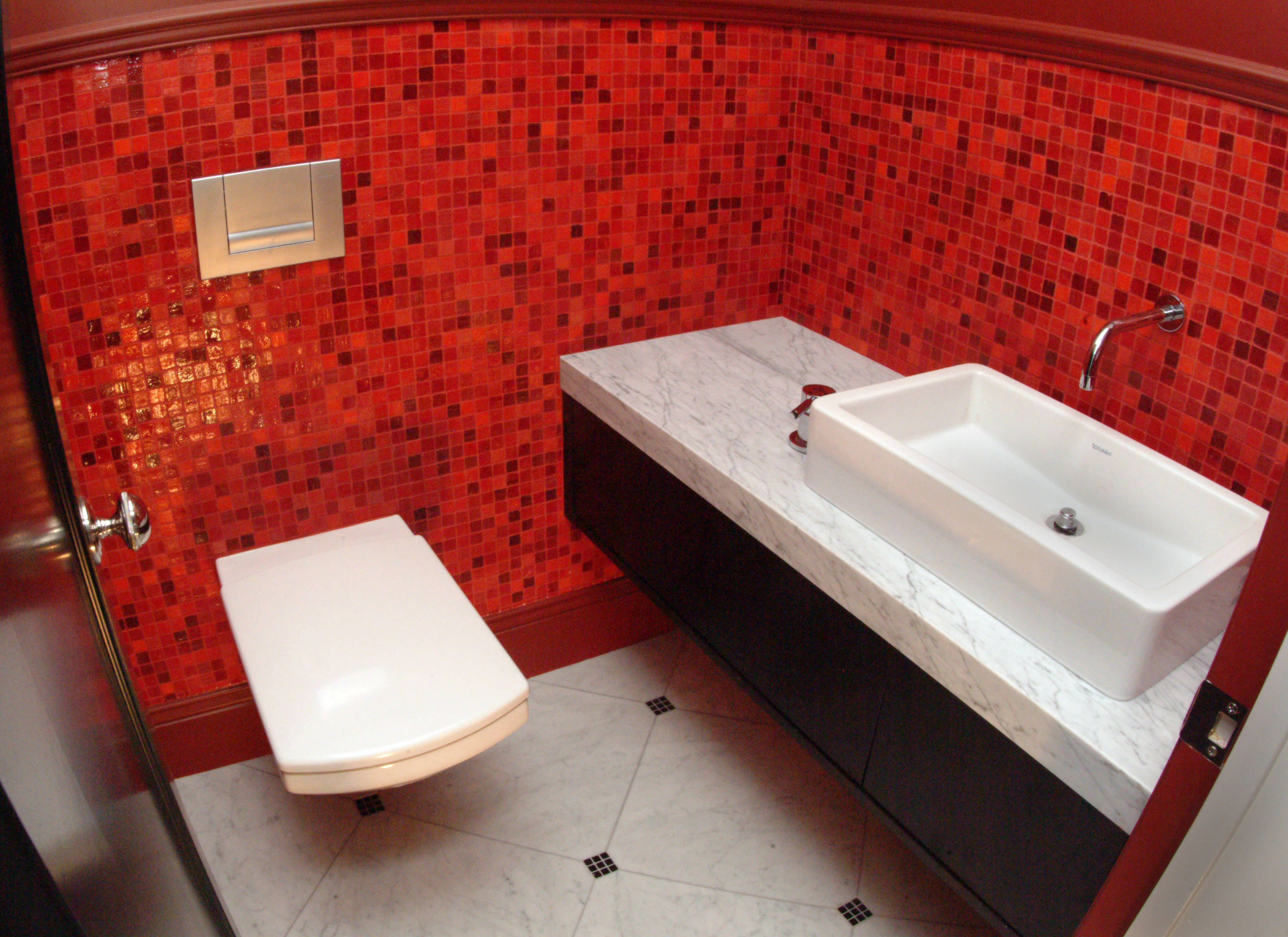glass bath - Red Bathroom 2015